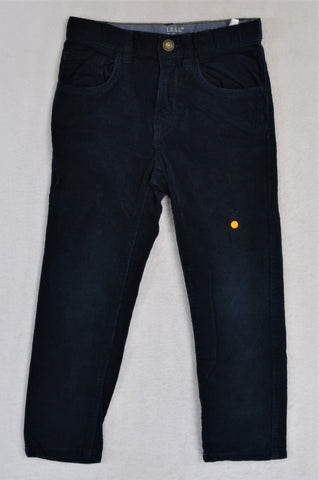 H&M Navy Snap Button Corduroy Pants Boys 5-6 years