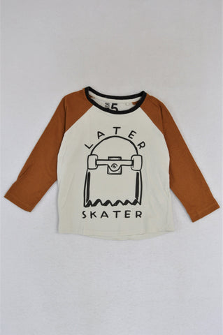 Cotton On White & Brown Later Skater Long Sleeve T-shirt Boys 4-5 years