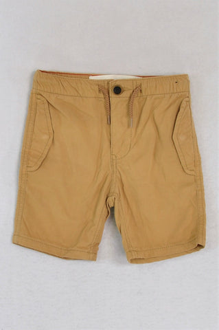 Cotton On Brown Snap Pockets Drawstring Shorts Boys 4-5 years