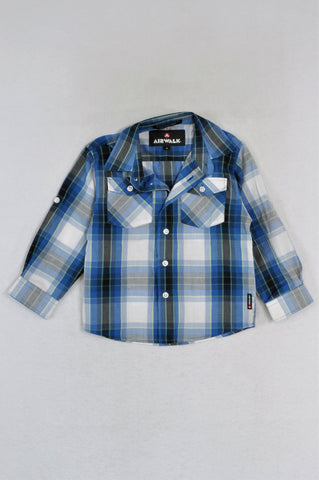 Airwalk Black & Blue Checkered Long Sleeve Shirt Boys 4-5 years