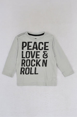 Cotton On Light Grey Peace Love & Rock N Roll Long Sleeve T-shirt Boys 18-24 months