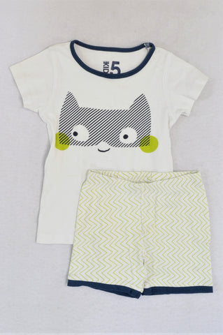 Cotton On White & Green With Navy Trim Top And Shorts  Pyjamas Unisex 4-5 years