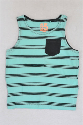 Cotton On Black & Blue Striped Tank Top Boys 4-5 years