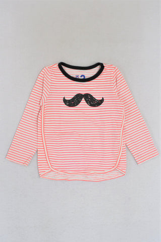 Cotton On Pink & White Striped Moustache Long Sleeve T-shirt Girls 2-3 years