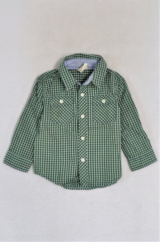 Cotton On Green Checkered Long Sleeve Shirt Boys 18-24 months
