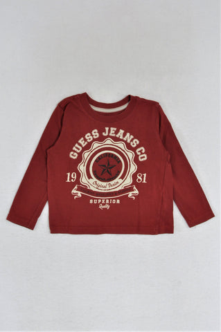 Guess Red & White Long Sleeve T-shirt Boys 2-3 years