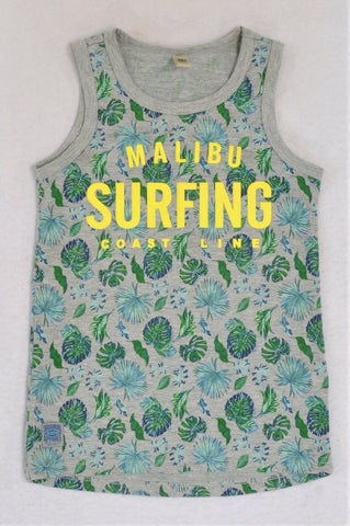 Instinct Grey Malibu Surfing Coast Line Tank Top Boys 5-6 years