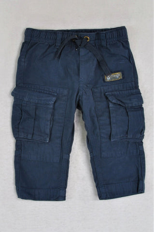 Naartjie Navy Cargo Style Drawstring Pants Boys 6-12 months