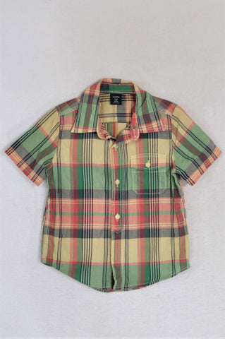GAP Red & Green Plaid Lightweight Shirt Boys 2-3 years