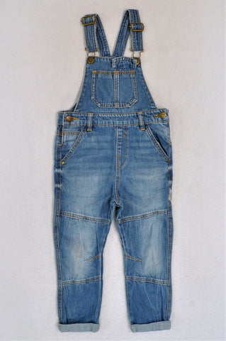 Next Blue Faded Denim Dungarees Boys 3-4 years