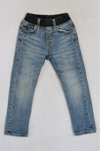 H&M Faded Denim Banded Jeggings Girls 3-4 years