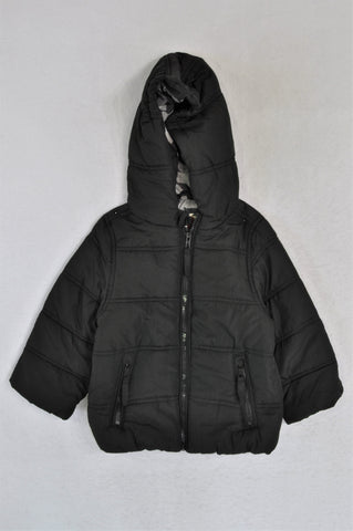 Cotton On Black Puffer Hooded Jacket Boys 2-3 years