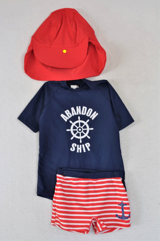 KDS Navy And Red Nautical Hat, Top And Shorts Swimwear Boys 3-4 years
