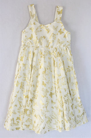 H&M Ivory With Gold Butterflies And Birds Dress Girls 9-10 years