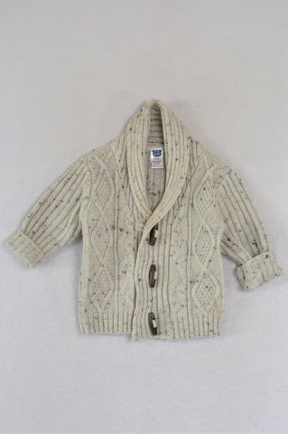 Ackermans Grey Knit With Elbow Patches Toggle Cardigan Boys 3-6 months