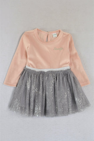 Naartjie Pink Velour Silver Sparkle Tulle Dress Girls 12-18 months