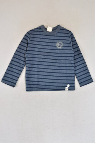 New Kutie Boy Blue Stripe Melange Brushed Cotton Fleece Be Brave Pull Over Top Boys 5-6 years