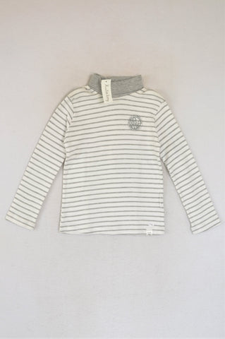 New Kutie Boy Grey & White Striped Polo Neck Be Brave Long Sleeve T-shirt Boys 7-8 years