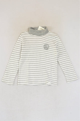 New Kutie Boy White & Grey Striped Polo Neck Be Brave Long Sleeve T-shirt Boys 5-6 years