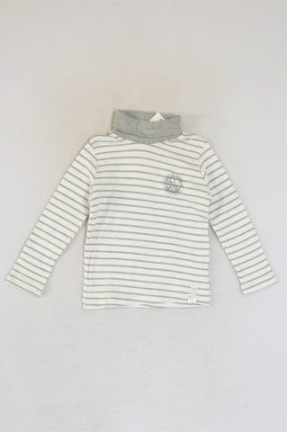 New Kutie Boy Grey & White Striped Polo Neck Be Brave Long Sleeve T-shirt Boys 3-4 years