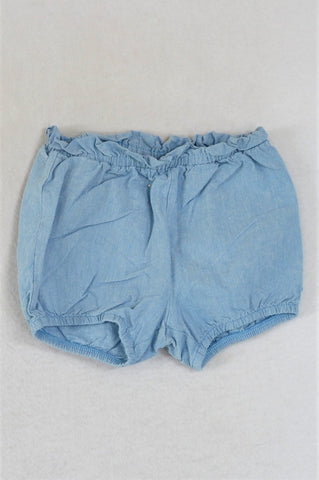 H&M Organic Cotton Blue Lightweight With Frill Band Nappy Shorts Girls 3-6 months