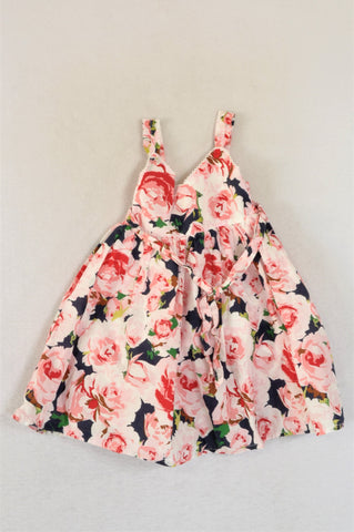 H&M Pink Floral Frill Tank Sleeve With Belt Dress Girls 2-3 years