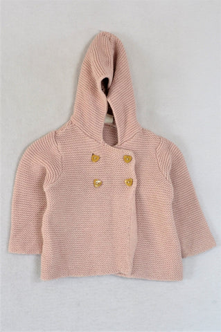 H&M Pink Knit Heart Buttoned With Hood Cardigan Girls 6-9 months