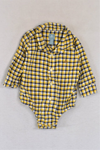 GAP Yellow & Blue Collared Long Sleeve Shirt Baby Grow Boys 6-12 months