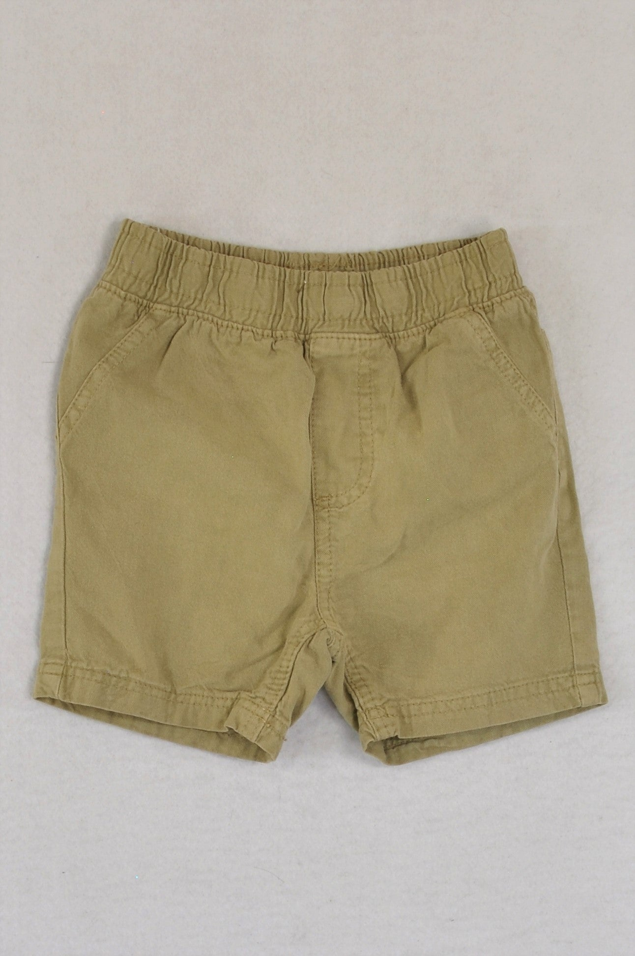 Woolworths Khaki Scrunch Band Faux Pockets Shorts Boys 6-12 months