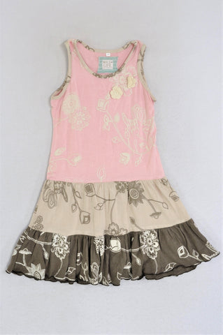 Wild Life Tiered Pink, Beige & Brown Floral Crochet Detail Dress Girls 3-4 years