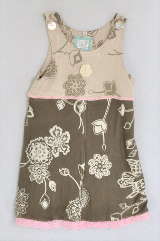 Wild Life Beige & Brown Floral Pink Crochet Detail Dress Girls 3-4 years