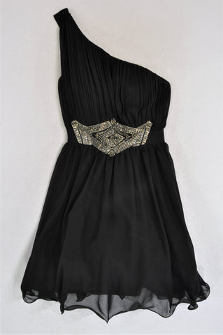 Little Mistress Black One Shoulder Pleated Beaded Dress Women Size 8