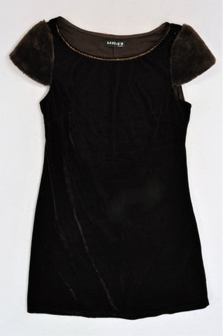 Ladies's Wear Brown Velvet Furry Capped Sleeve Dress Women Size 8