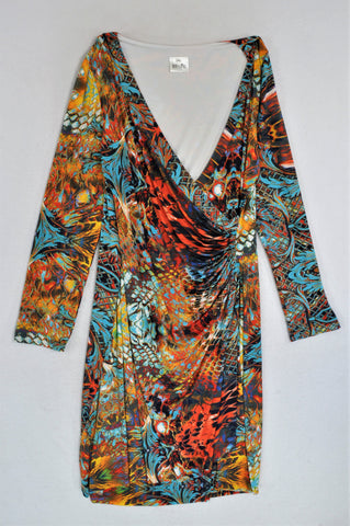 100% Me Multicoloured Abstract Long Sleeve Draped Dress Women Size XXL