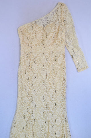 New JH Fashion Wear Champagne Floral & Sequin Embroidered Lace One Shoulder Dress Women Size XL