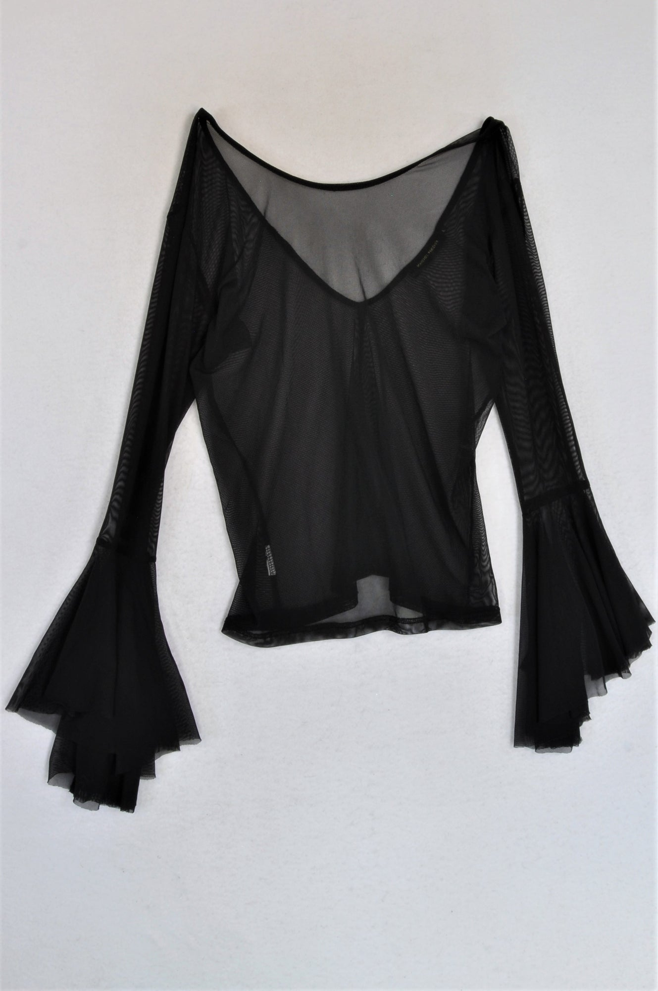 Khosi Nkosi Black Mesh Bell Sleeve Top Women Size M