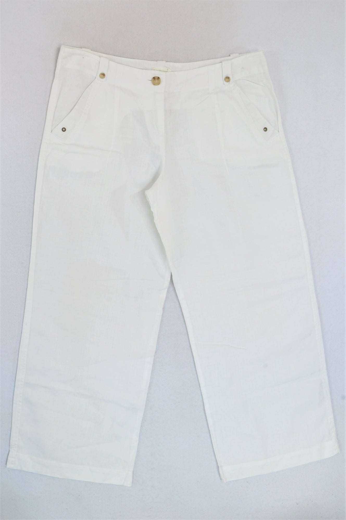 Woolworths White Wide Leg Linen Pants Women Size 14