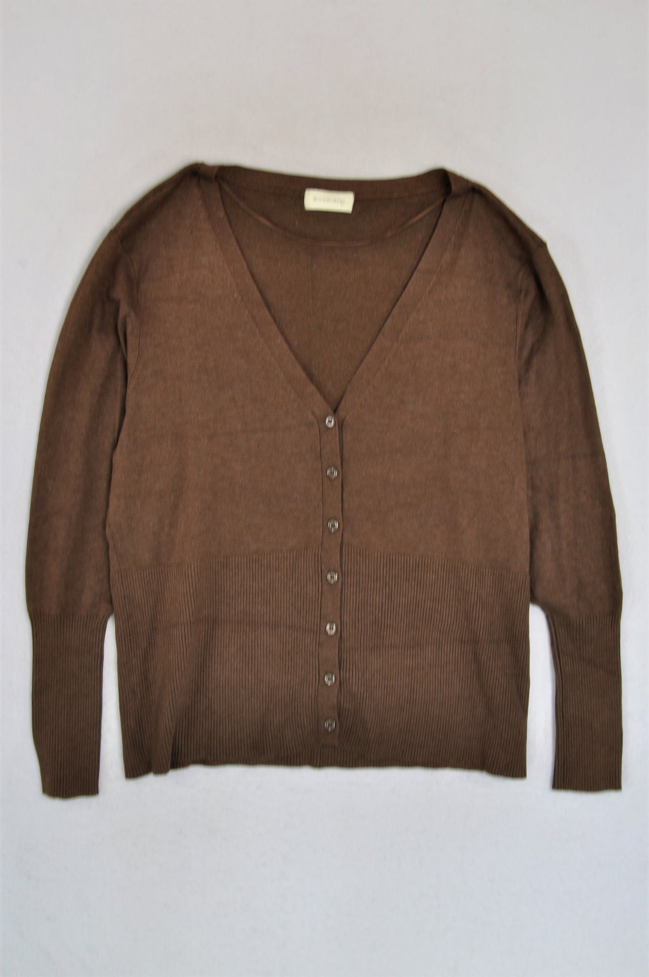 Woolworths Brown Long Sleeve Button Up Cardigan Women Size XL