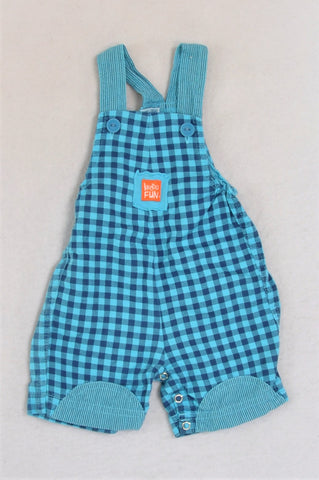 Keedo Blue Checkered Dungaree Baby Grow Boys 0-3 months