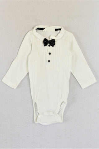 H&M Organic Cotton White With Black Bow Collared Baby Grow Unisex 3-6 months