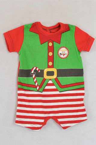 Woolworths Red & Green Santa's Little Helper Baby Grow Unisex 0-3 months