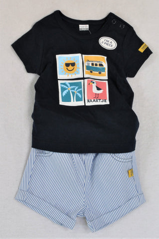 New Naartjie Navy T-Shirt & Blue Striped Shorts Outfit Boys 6-12 months