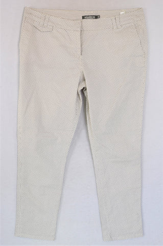Woolworths White & Navy Polka Dot Chinos Women Size 16
