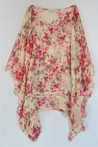 Woolworths Pink Floral Sheer Flowy Top Women Size 10