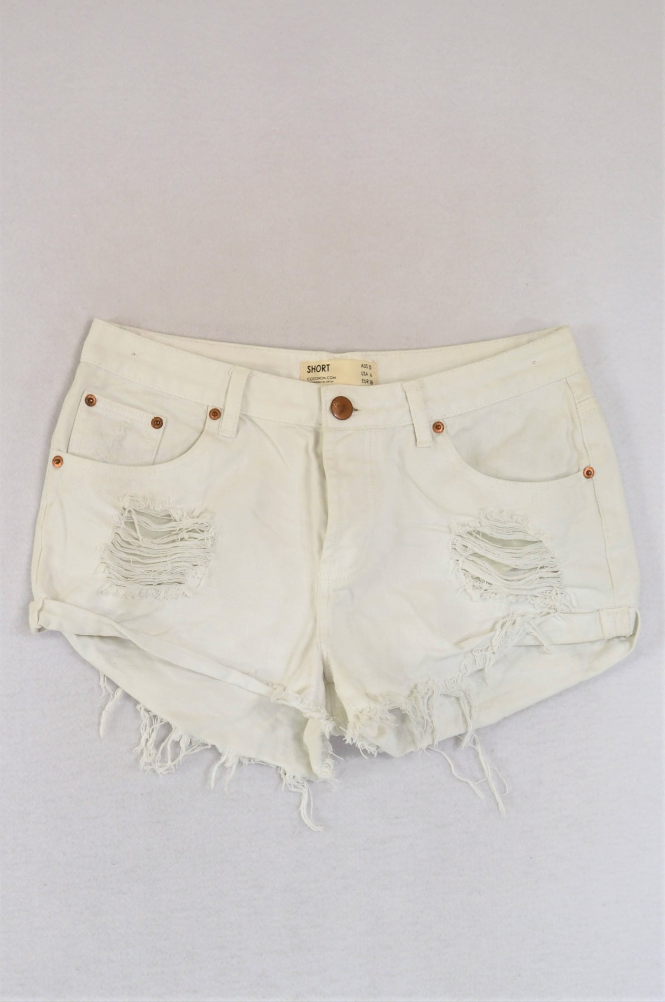 Cotton On White Distressed Denim Shorts Women Size 10