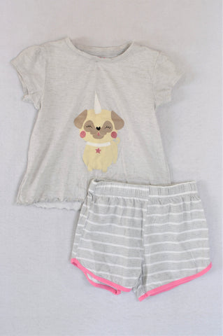 Woolworths Grey Puppy T-Shirt & Grey Striped Shorts Pyjamas Girls 5-6 years
