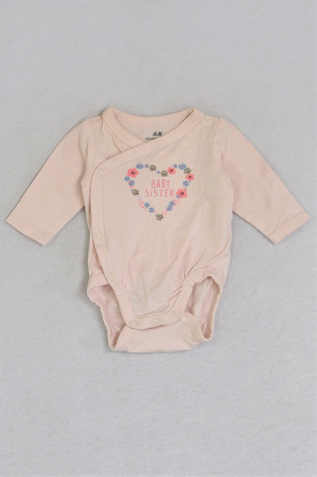 H&M Organic Cotton Light Pink Baby Sister Long Sleeve Baby Grow Girls 0-1 month