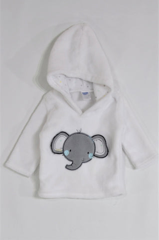Ackermans White Fleece Elephant Hoodie Unisex 0-3 months