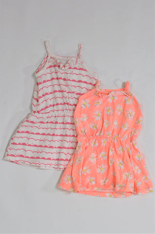 Woolworths Pack Of 2 Orange & White Floral And White & Pink Patterned Dresses Girls 0-3 months