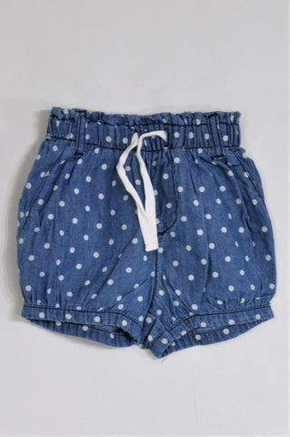 Ackermans Chambray & White Polka Dot Scrunch Waist Shorts Girls 3-6 months
